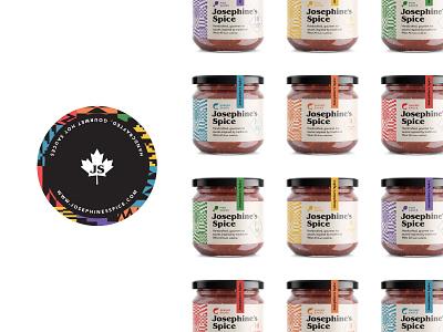 J'S Spice jar labels gourmet fish shrimp jar label packaging branding hot sauce cuisine food canadian african