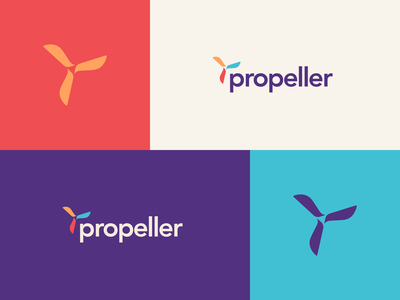 Propeller colourful software technology vector typography flat logo branding