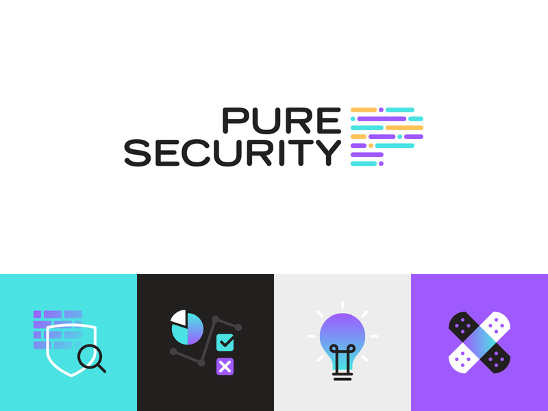Pure Security cyber security security it colourful punk gradient ui icons logo branding vector