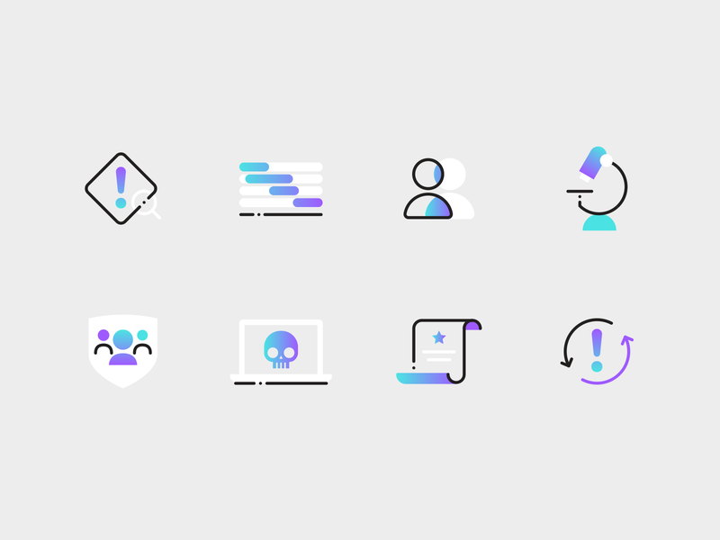 Pure Security icons colourful gradient cyber security security app security icons flat vector illustration
