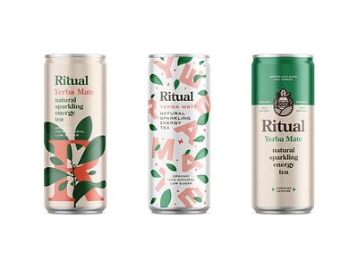 Ritual Can mockups energy tea organic natural drink can beverage packaging typography logo branding
