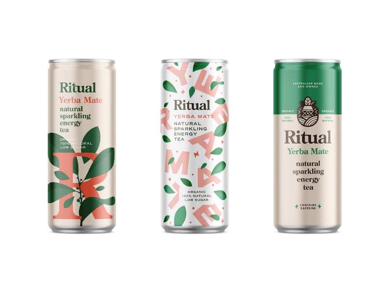 Ritual Can mockups energy tea organic natural drink can beverage packaging typography logo branding