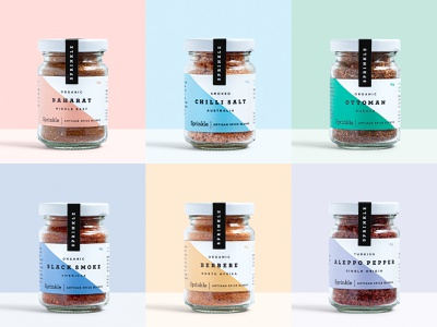 Sprinkle Jars colour brand identity seasoning organic natural food spices jar label packaging logo