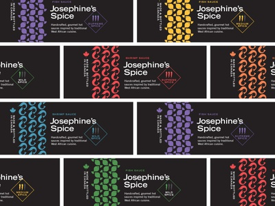Josephine's Spice labels gourmet handmade hot sauce spicy spice canada africa shrimp fish food packaging logo icons flat vector branding illustration