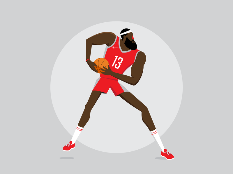 The Beard character design houston rockets sport step back basketball character vector illustration
