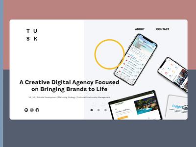 Tusk Design Landing Page Concept adobexd landing page branding ux designer ui designs logodesign design app adobe illustrator ux design ui design