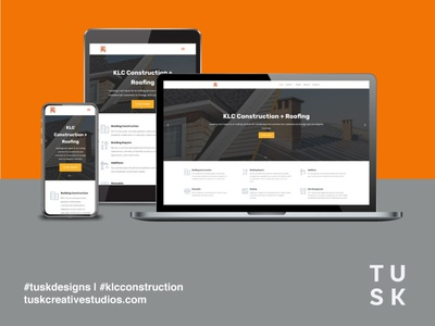 New website launch for KLC Construction & Roofing construction logo landing page ux design ui design