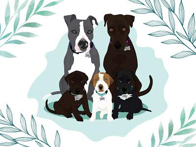 Family Portrait family portrait family puppy puppies dog illustration dog wacom intuos design illustration