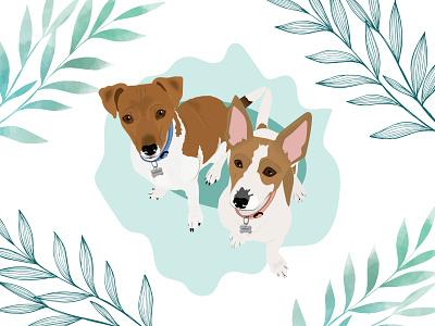 Charlie and Millie dog illustration dog design wacom intuos illustration