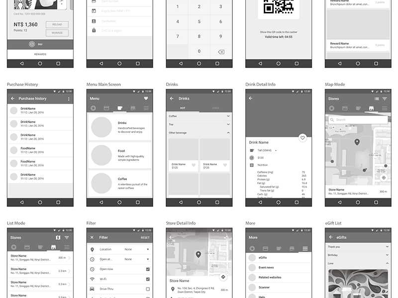 Starbuck App Redesign ux ui material design interface design android app wireframe