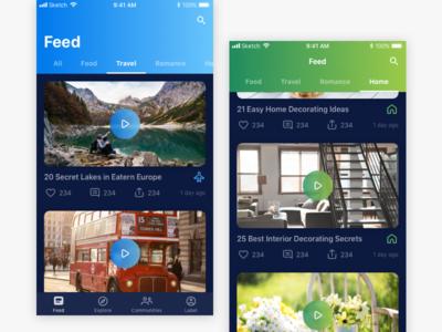 Social Video Network ios design app ui flinto