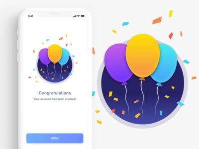 Congratulations Page ios illustration interface design ux ui