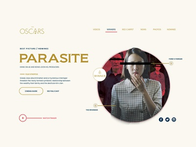 Oscar Website Redesign Concept creative project personal adobe xd films watch uiux red carpet winners movies parasite concept redesign website oscar