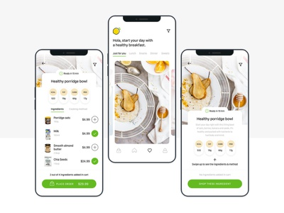 Healthy Food Recipes Recommendation UI Kit food apps healthy selection cart shopping uikit dinner lunch breakfast food app foodie design download ui dailyui simple