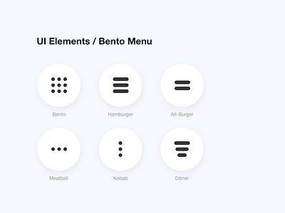 UI Elements- Bento Menu uiux download svg icons bento hamburger menu meatball kebab burger menu menu ui elements