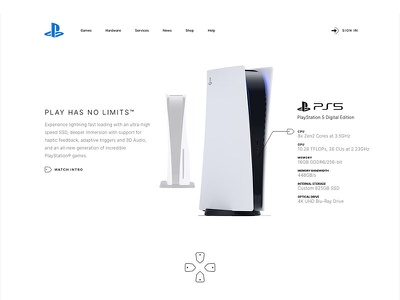 Landing page design Playstation (PS5) Adobe XD gaming game freebies ps5 playstation5 adobe xd download dailyui clean
