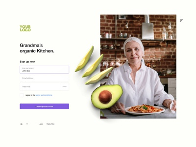 Organic Kitchen Sign up page design using starter kit recipes kitchen organic signup freebies design adobexd download adobe xd clean