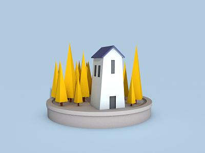 Low Poly House - Cinema 4D cgart house cinema4d renders texturing modelling lowpoly simple clean
