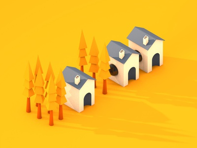 Houses huts redesign yellow marterial texturing houses trees cgartist modelling render cinema4d simple clean