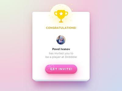 Debut shot! ui invite dribbble prize reward interface debut