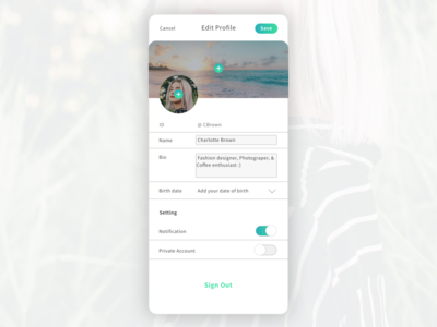 Social Media App - User Setting