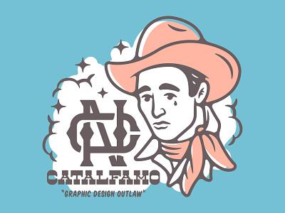 Graphic Design Outlaw new player designer branding typography logo design vector illustration
