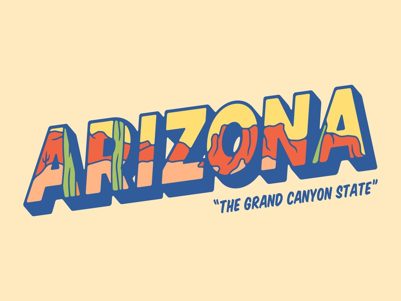 Arizona Postcard bold graphic design typography arizona design vector illustration