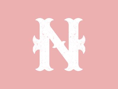 Blackletter N lettering typography icon logo design logo graphic design design