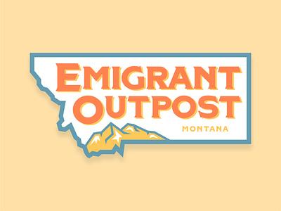 Emigrant Outpost Sticker bold badge typography arizona graphic design logo vector design illustration