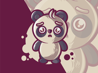 Shock of baby panda mascot characterdesign panda