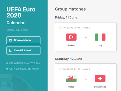 Euro 2020 Calendar ui soccer football calendar