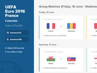 UEFA Euro 2016 Calendar