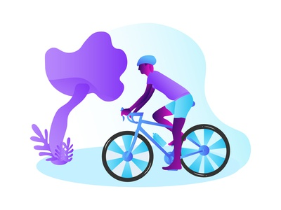 happy young man riding bicycle outside healthy lifestyle