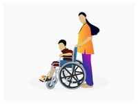 Doctor Carrying children Patient On Wheelchair