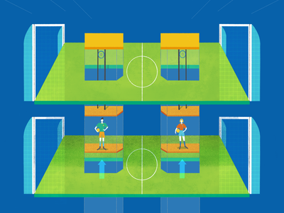 Category promotion in regional-amateur football field up elevator players football soccer character design colourful illustration magazine illustration editorial illustration dani maiz