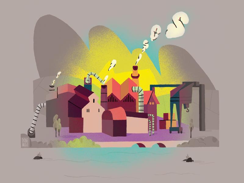 Geuria Magazine: The bleak future of the industry. dani maiz illustration magazine illustration editorial illustration colourfull basquenland future sos crisis industry
