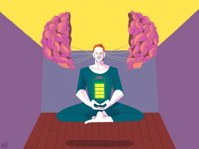 Geuria Magazine: Mindfulness in Sports battery theraphy brain sport meditation mindful mindfulness illustration magazine illustration editorial illustration dani maiz colourful character design