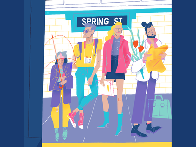 April 2020 waiting umbrella station spring nysubway love illustration flowers editorial illustration dani maiz colourful character design