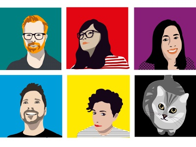 The Founding Five ...And our furry mascot. vector agency avatars apple pencil pixelthecat colors yellowcatfive team illustration