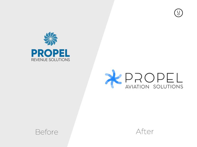 Rebranding Propel aviation rebranding rebrand branding design logo vector agency yellowcatfive