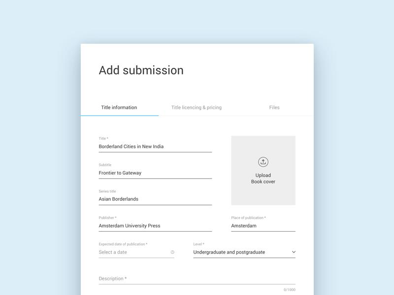 KU add submission form input field input form upload platform web app webapp blue ku flat minimal