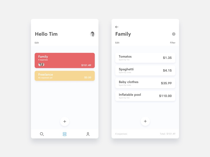 Project $ finances vue list app ux ui
