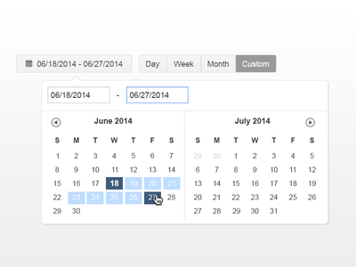 Calendar UI calendar date date range custom date range controls ui