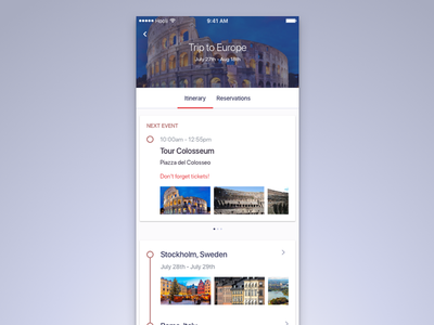 Trips Dribbble Shot design ui mobile trips itinerary travel