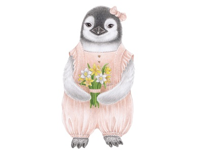 Baby penguin with flowers