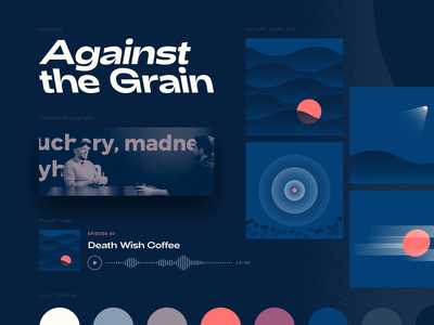 Against the Grain Brand Board color palette cover art player photography logotype typography bitmap duotone brand identity identity brand design brand