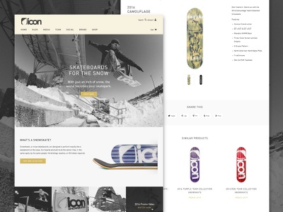Icon Snowskates 2016 Site ui shopify snowskate skateboard snow web design din din rounded ecommerce homepage