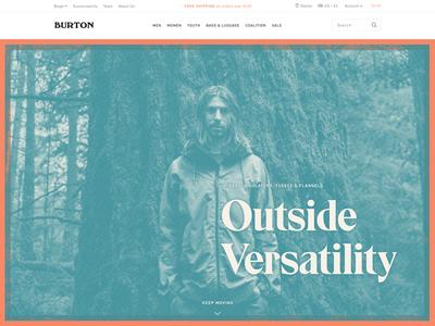 Burton Outside Versatility Hero eksell spot color overprint bitmap hero landing page