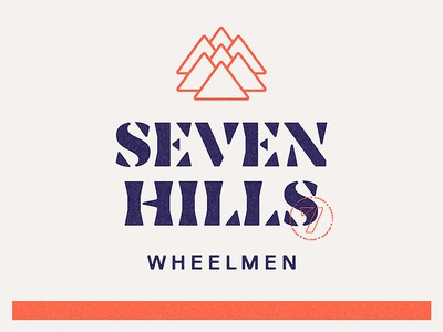 Seven Hills Wheelmen Lockup replica noe lettering seven stencil mountains hills texture jersey bike badge