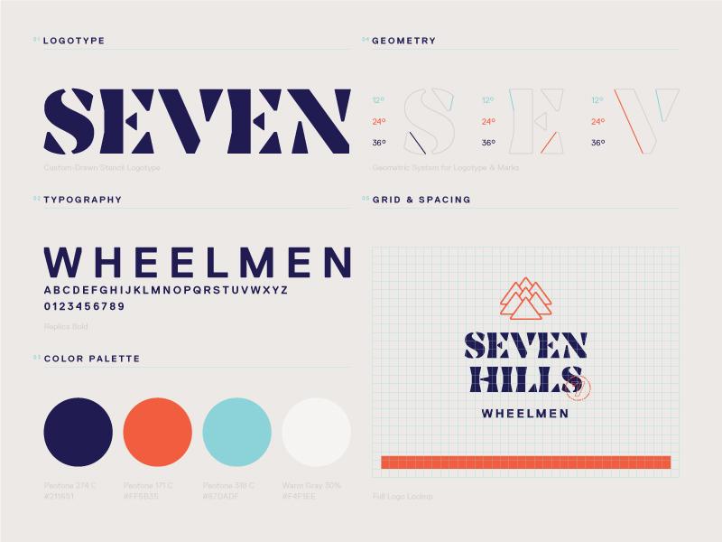 Seven Hills Wheelmen Brand Guidelines guidelines branding brand lockup grid geometry palette color typography logotype